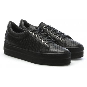 Daniel Suri Black Leather Reptile Flatform Trainers