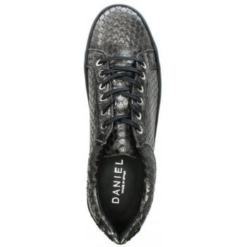 Daniel Suri Pewter Leather Reptile Flatform Trainers