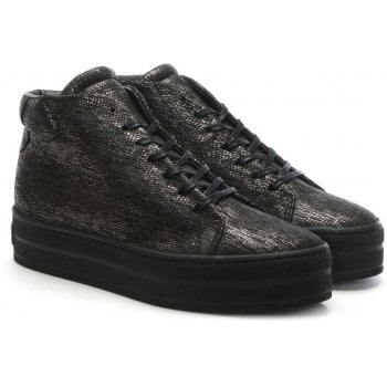 Daniel Salix Black Metallic Leather Flatform High Tops