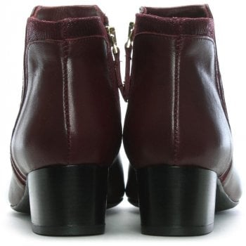 Lamica Burgundy Leather Reptile Insert Ankle Boots