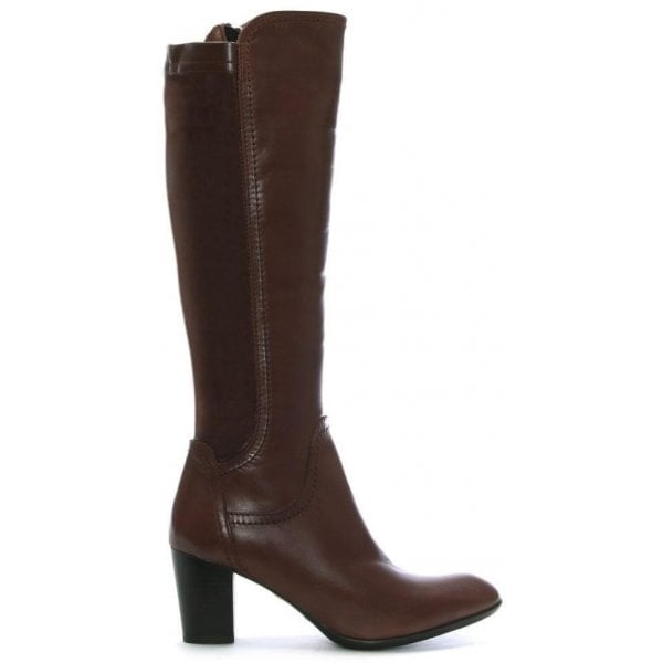 Tan Leather Block Heel Knee Boots