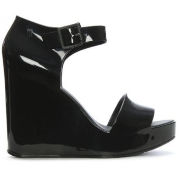 Melissa Mar Black Ankle Strap Wedge Sandals