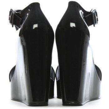 Melissa Mar Black Ankle Strap Wedge Sandals
