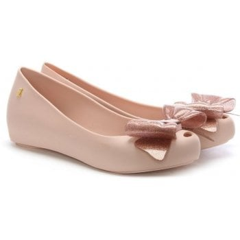Melissa Ultragirl Blush Glitter Sweet Bow Ballet Flats