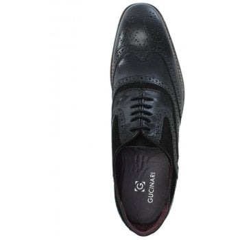 Gucinari Black Leather Suede Trim Lace Up Brogues