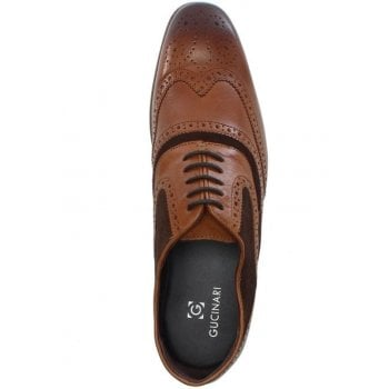 Gucinari Tan Leather Suede Trim Lace Up Brogues