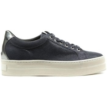Daniel Suri Navy Leather Reptile Flatform Trainer