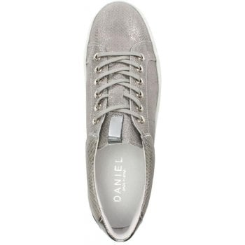Daniel Suri Grey Leather Reptile Flatform Trainer