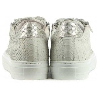 Daniel Sweets Beige Leather Reptile Lace Up Trainer