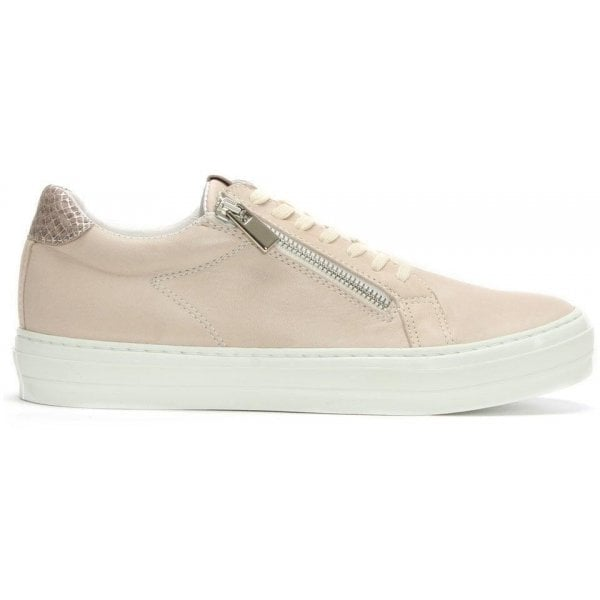 Sweets Nude Leather Reptile Lace Up Trainer