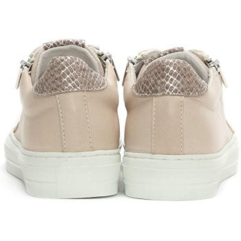 Daniel Sweets Nude Leather Reptile Lace Up Trainer
