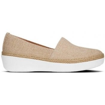 Fitflop Casa Urban White Shimmer Twill Jute Trim Loafers