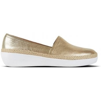 580e6a265 Fitflop Casa Gold Leather Jute Trim Loafers - Fitflop from Shoes.co ...