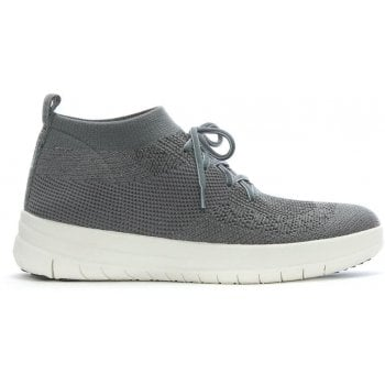 Fitflop Uberknit Pewter Metallic Slip On High Top Trainers