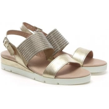 Daniel Lovell Gold Metallic Leather Jewelled Sling Back Sandals