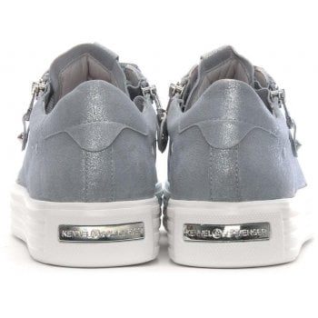 Kennel & Schmenger Ribbon Lace Up Silver Metallic Leather Trainers