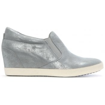 Kennel & Schmenger Ragdoll Silver Metallic Leather Wedge Trainers