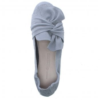 Kennel & Schmenger Blue Suede Bow Ballet Pumps