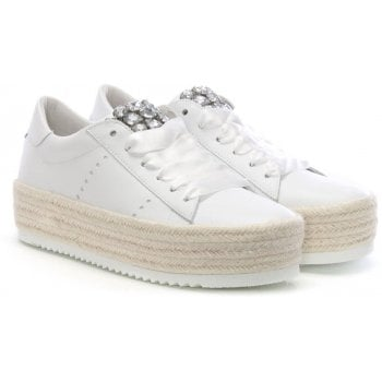 Kennel & Schmenger Becker White Leather Flatform Espadrilles