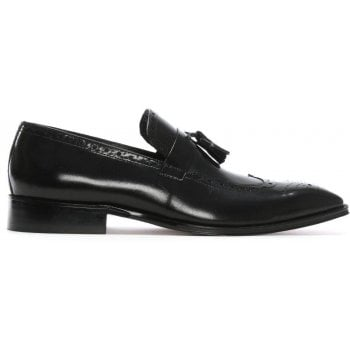 Daniel Evershot Black Leather Brogue Loafers