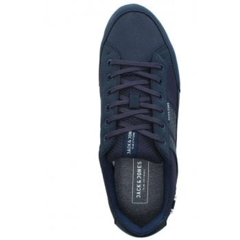 Jack & Jones Rayne Navy Leather Lace Up Trainers