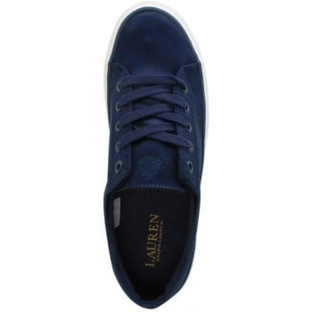 Lauren by Ralph Lauren Jolie Navy Satin Lace Up Sneakers