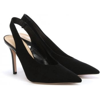 Daniel Slings Black Suede Sling Back Court Shoes
