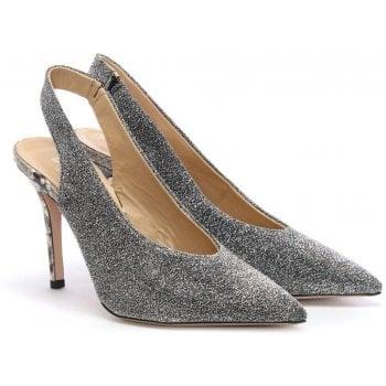 Daniel Slings Silver Sling Back Court Shoes