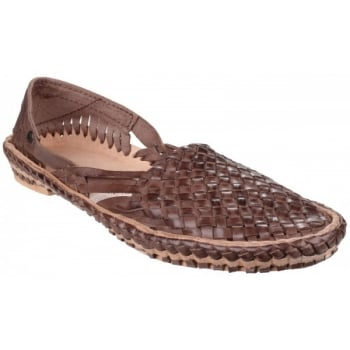 Base London Aztec Weave Brown Sandals