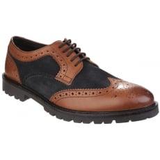 Base London Conflict Lace Up Brogue Shoe Tan/Navy Shoes