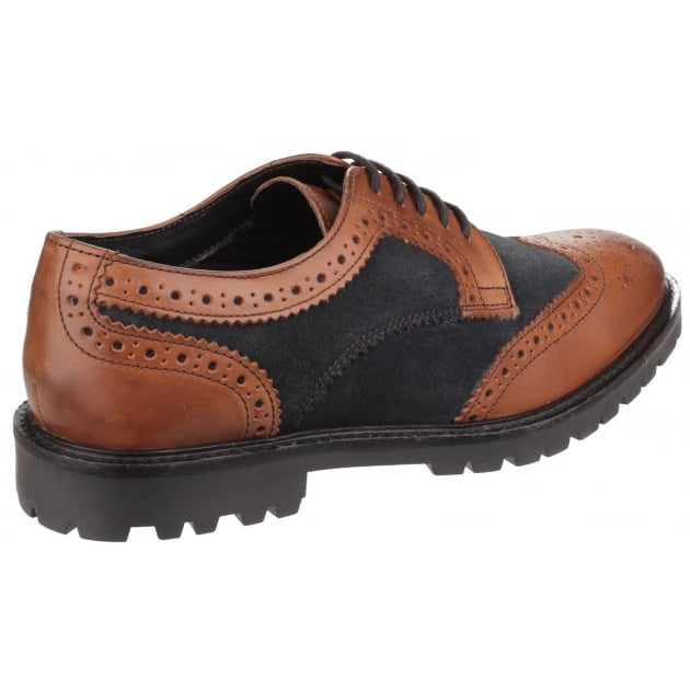 Base London Conflict Lace Up Brogue Shoe Tan/Navy Shoes