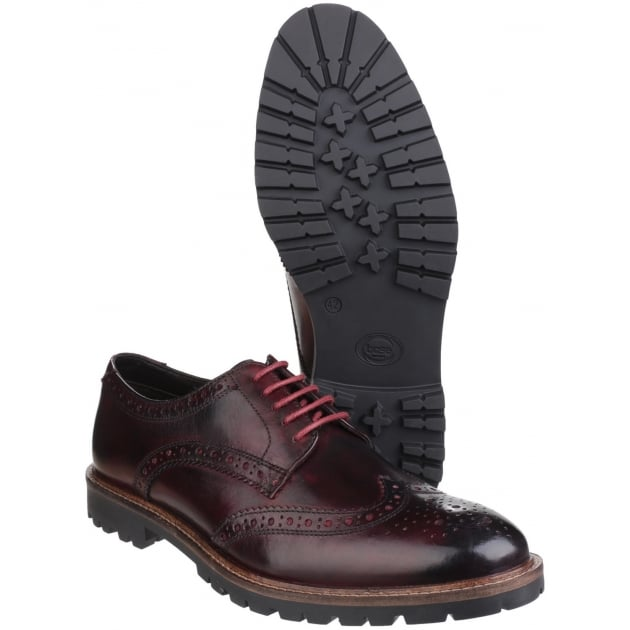 Base London Trench Lace Up Brogue Shoe Bordo Shoes