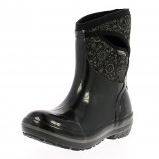 Bogs Plimsoll Quilted Floral Mid 71543 Black Wellies