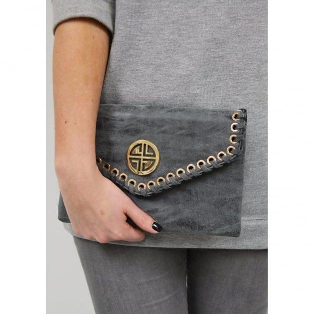 Carlton London Amaranth Clb0031 Grey Clutch Grey Bags