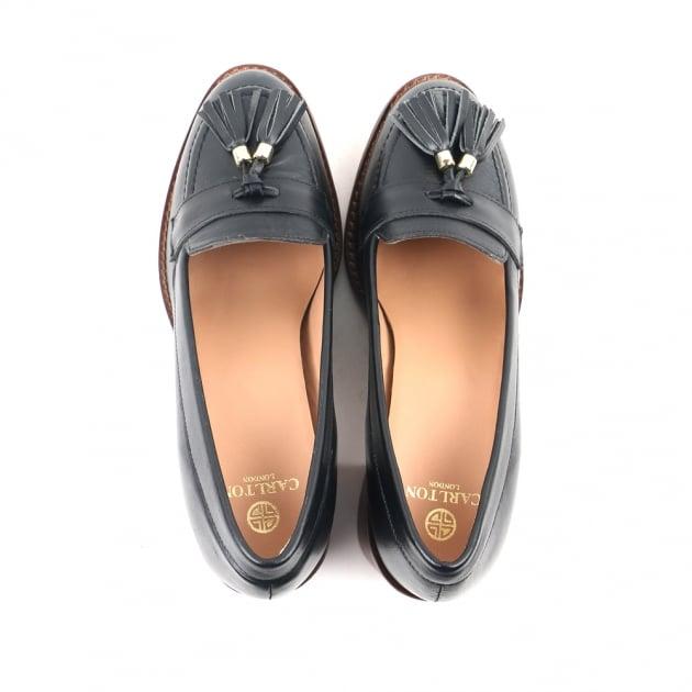 Carlton London Cai Black Heeled Loafers