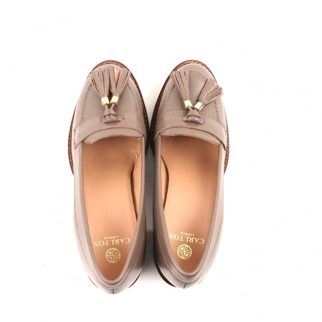 Cai Taupe Heeled Loafers
