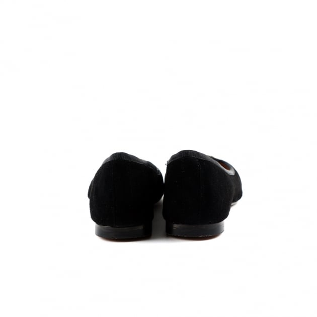 Catrin Black Suede Ballerina Shoes