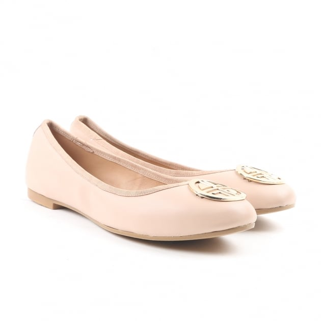Carlton London Catrin Nude Suede Ballerina Shoes
