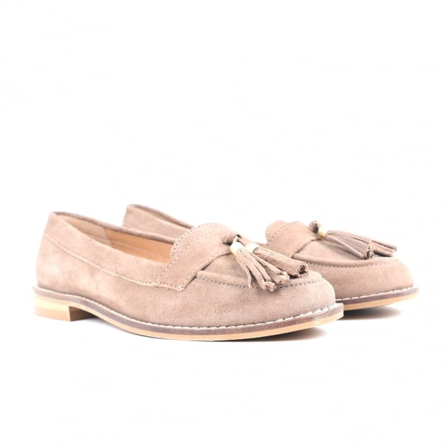 Carlton London Chanel Taupe Suede Loafers