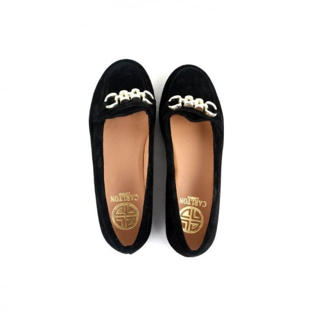 Carlton London Charis Black Suede Loafers