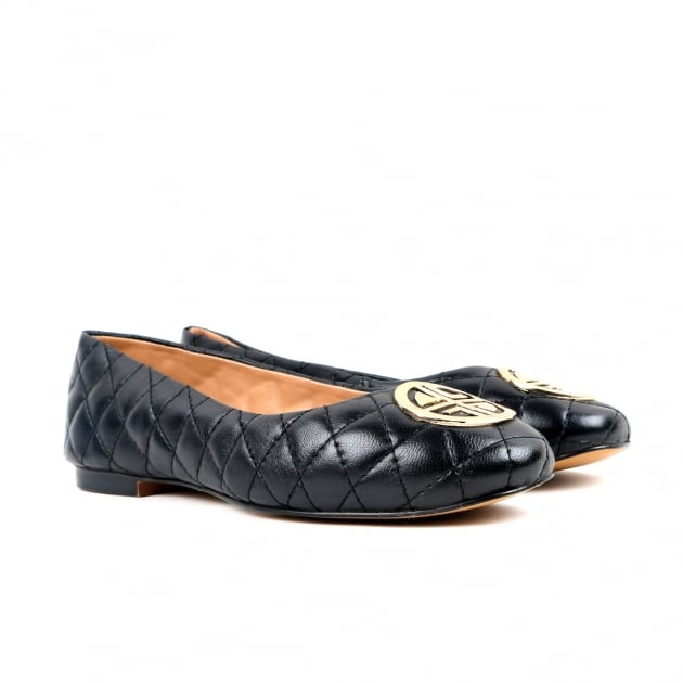Carlton London Chiara Black Ballerina Shoes