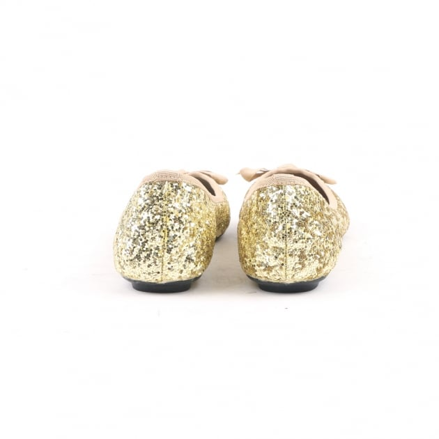 Carlton London Nami Gold Ballerina Shoes