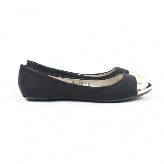 Carlton London Norjah Black Ballerina Shoes