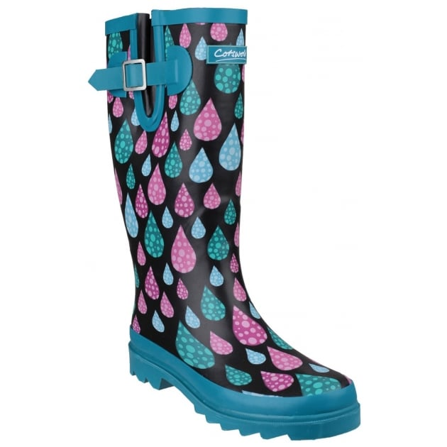 Cotswold Burghley Daisy Wellingtons Blue
