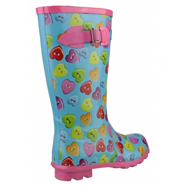 Cotswold Button Heart Wellingtons Blue Multi Wellies
