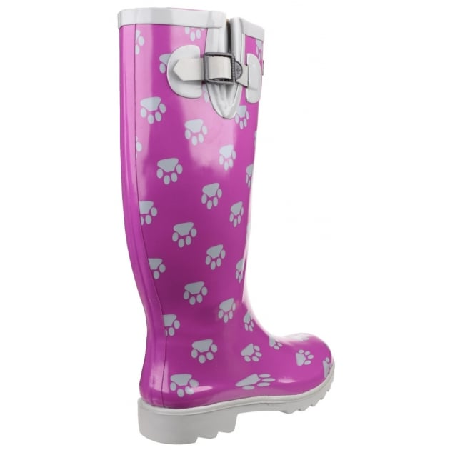 Cotswold Dog Paw Wellingtons Purple