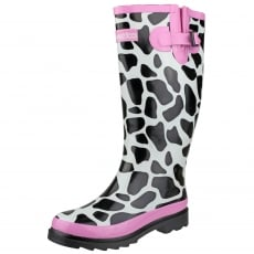 Cotswold Moo Wellingtons Black/White/Pink Wellies