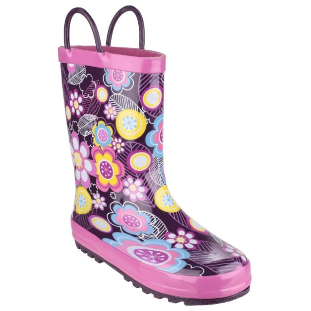 Cotswold Puddle Boot Purple Multi Girls