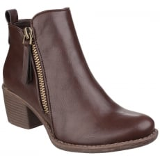 Divaz Dench Zip Up Ankle Boot Brown