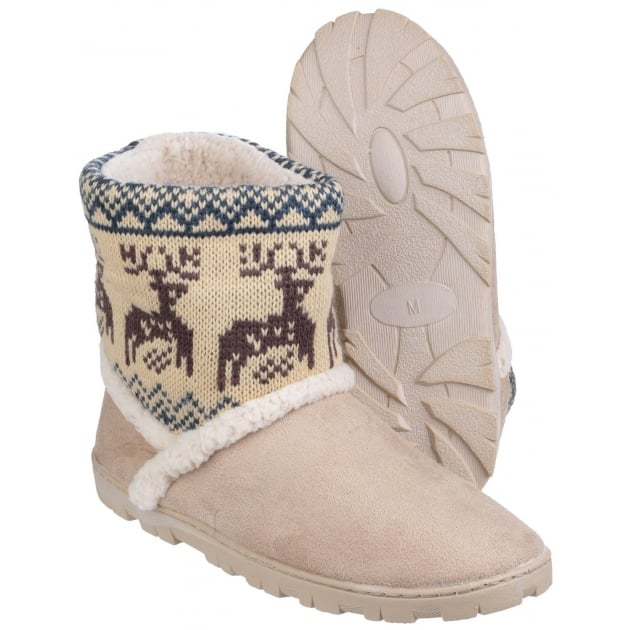 Divaz Denmark Pull On Bootie Slippers Beige